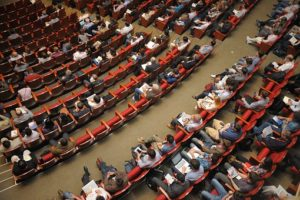 Anagram Events Australia - stock image aerial view of conference attendees in session